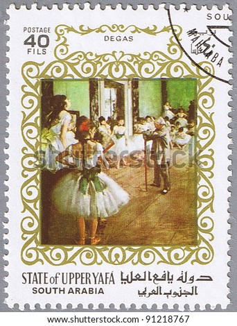 STATE OF UPPER YAFA - CIRCA 1967: A stamp printed in State of Upper Yafa shows painting by Edgar Degas - The Dance Class, series, circa 1967