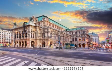 State Opera at sunrise - Vienna - Austria Stock photo ©
