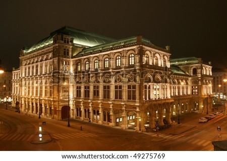 State Opera House in Vienna by night