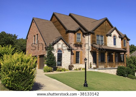 Stately upscale brick home somewhere in the midwest USA.