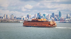 Staten Island Ferry and Lower Manhattan Skyline - New York, USA
