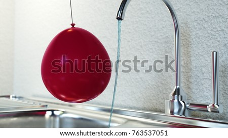 Static electricity experiment with balloon and tap water. The electrified balloon draws water from the faucet. 3D Render.