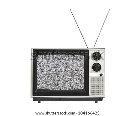 Static screen portable vintage television with antennas up.  Isolated on white.
