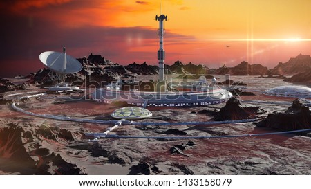 station on Mars surface, first martian colony in desert landscape on the red planet (3d space render) Foto stock ©