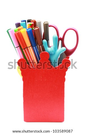 Stationary in red box isolated on white background