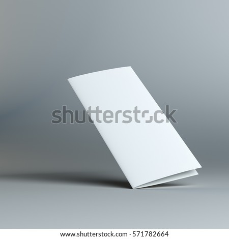 Stationary positioned blank two fold paper brochure on gray background. 3D Illustration