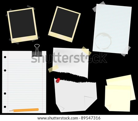 Stationery - Blank Aged Photo Frames, Lined, Squared and Ripped Papers  With Transparent Tape, Thumbtack and Memo Notes - isolated on Black