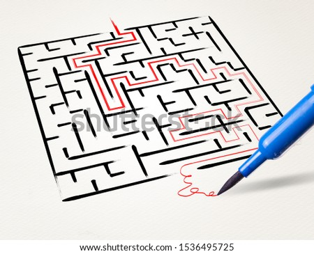 Stationery drawing the exit way out from a labirynt Zdjęcia stock ©