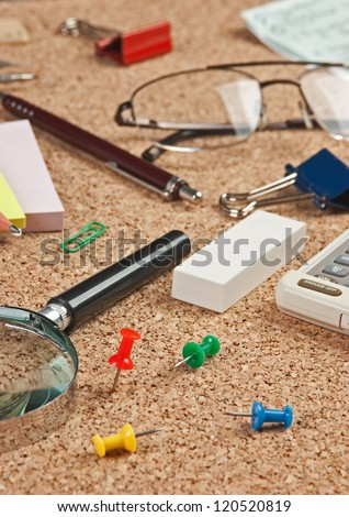 stationery in a mess on the table