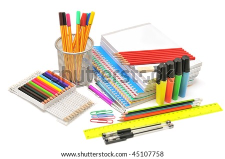 stationery isolated on a white