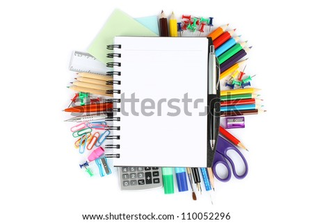 Stationery items on a white background - stock photo