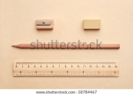 Stationery on brown background