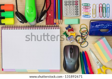 Stationery on the office desk