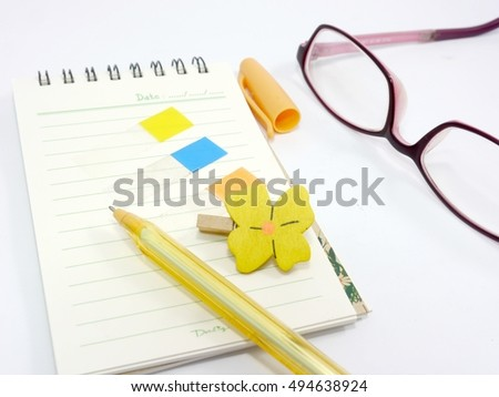 Stationery, pen, post-it and eyeglasses #494638924