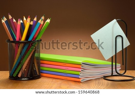 Stationery set on wooden table