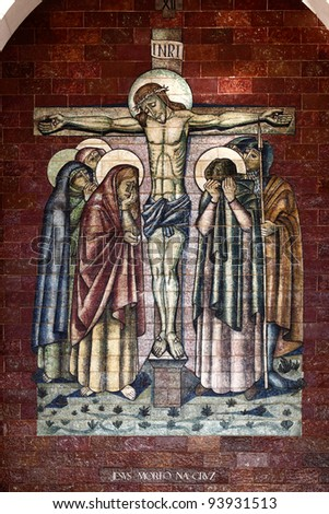Stations of the Cross:Jesus died on the cross; A panel of Portuguese tiles outside the shrine of Fatima - stock photo