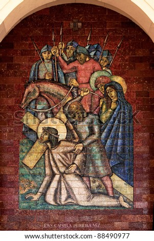Stations of the Cross: Jesus falls the first time; A panel of Portuguese tiles outside the shrine of Fatima