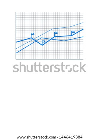 Statistics information on growing blue infographic raster illustration grid and text push button flags set line statistical data color chart