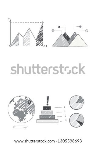 Statistics optimization and world map poster with Earth icon and statistics represented by graphs, background of raster illustration is white