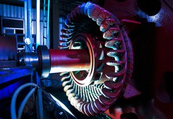Stator generators of a big electric motor in the coal fired power plant factory manufacturing.