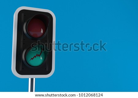 Stats up concept on traffic light isolated on blue background. 3d illustration