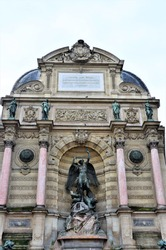 Statuary at the Fontaine Saint-Michel, Paris, Île-de-France, France