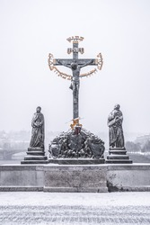 Statuary of the Holy Crucifix and Calvary on Charles Bridge in Prague, Czech Republic