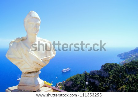 Statue above the Amalfi Coast, Villa Cimbrone, Ravello, Italy
