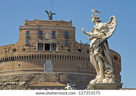 Statue against Castel St Angelo, Rome