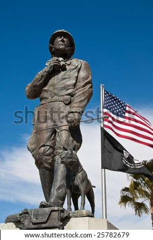 Statue and Flags at the General Patton Museum