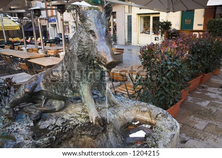 Statue and fountain in Aix-en-provence, France. - stock photo