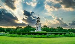 Statue and Garden in Houston at Sunset - Houston, Texas, USA