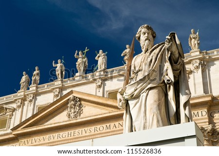 Statue Apostle Paul in front of the Basilica of St. Peter, Vatican