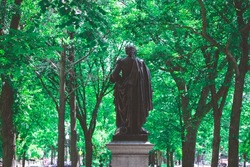 Statue at Commonwealth avenue in sunny day with summer in Boston, Massachusetts.