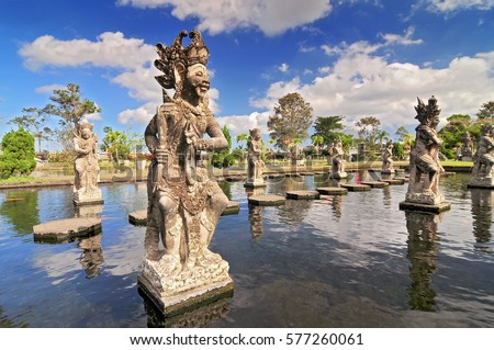 Statue at the Tirtagangga Water Palace in Bali, Indonesia.