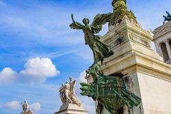 Statue at Victor Emmanuel II Monument (Altar of the Fatherland), built in honor of the first king of Italy, in Rome, Italy