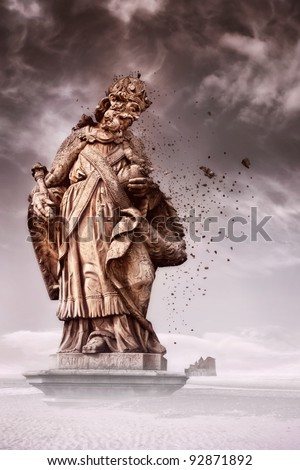 Statue breaking apart - stock photo