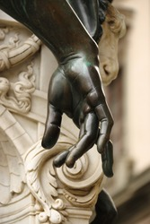 Statue fragment, hand of sculpture, made by Benvenuto Cellini, Florence Italy