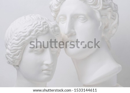 Statue. Gypsum statue of Venus head. Gypsum statue of Apollo's head and of Venus. Woman. Любовь. Portrait of beautiful Venus. Heavenly love. Love is beautiful always. Beautiful sculpture. Адам и Ева.