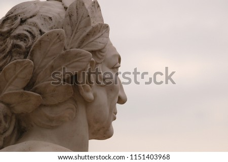 Statue head of Roman Emperor Caeser - looking to the sky.