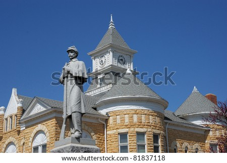 Statue in front of Lincoln County Kansas Courthouse