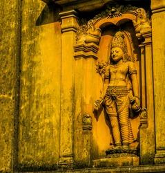 Statue in Kelaniya Temple. In Colombo, Sri Lanka