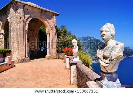 Statue Lined Terrace At Ravello, Amalfi Coast, Italy