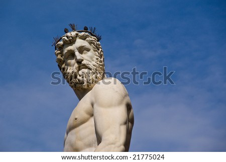 Statue located in the open air gallery in Florence, Italy.