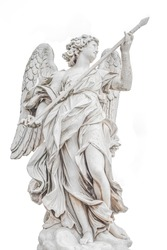 Statue of a beautiful holy angel with wings holding a war spear at the Saint Angel bridge (Ponte Sant Angelo), isolated at white background, Rome, Italy