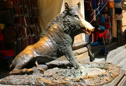 Statue of a boar called 'Il Porcellino' is one of the landmarks of Florence, Italy