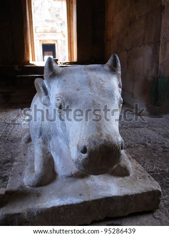 Statue of a cow.,Castle rocks in the Northeast of Thailand