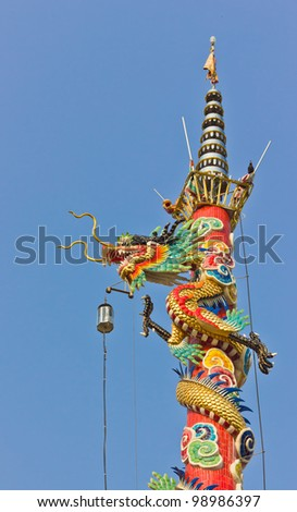 Statue of a dragon roll on a pole.