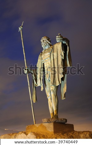 Statue of a Guanche King in Candelaria. Canary Island Tenerife, Spain
