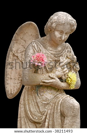 statue of a marble angel, isolated on black background